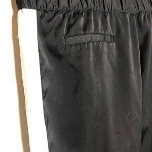 Who What Wear Pants - Black satin track pants w off white side stripe XL